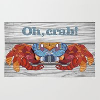 crab Area & Throw Rugs featuring Oh, Crab! by ArtLovePassion