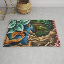 Bathing in the River by Miguel Covarrubias Rug