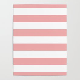 Large Blush Pink and White Cabana Tent Stripes Poster