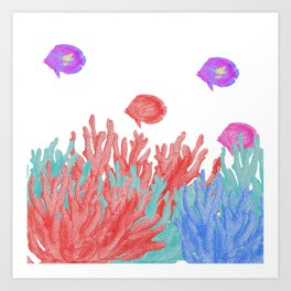 Modern nautical coral teal floral reef colorful fish Art Print