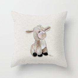 Cuddly Donkey Watercolor Throw Pillow