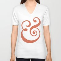 ampersand V-neck T-shirts featuring Ampersand by Bill Pyle