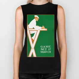 Game set and match retro tennis referee Biker Tank