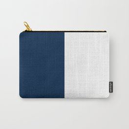 White and Oxford Blue Vertical Halves Carry-All Pouch