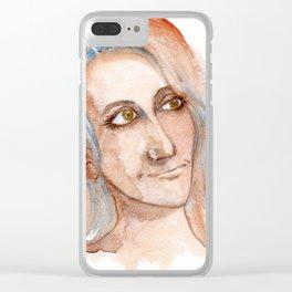 Womans portrait by watercolor Clear iPhone Case