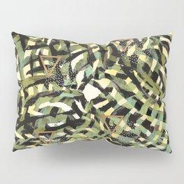 Tropical leaf and geometric Pillow Sham