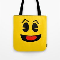 pacman Tote Bags featuring Pacman  by Valiant