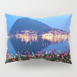 Tulips - Lake Lugano, Switzerland Landscape Photograph Pillow Sham