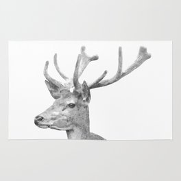 Black and white deer animal portrait Rug
