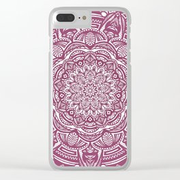 Wine Maroon Ethnic Detailed Textured Mandala Clear iPhone Case