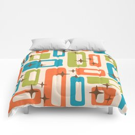 Retro Mid Century Modern Abstract Pattern 921 Orange Chartreuse Turquoise Comforters