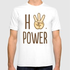 HiiiPower (w/text) : Pale White MEDIUM Mens Fitted Tee