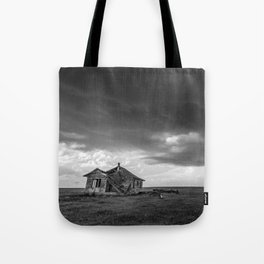 Sweeping Down the Plains - Abandoned House and Storm in Oklahoma Tote Bag