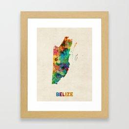 Belize Watercolor Map Framed Art Print