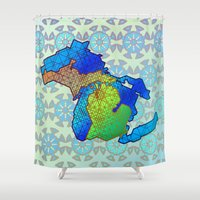 michigan Shower Curtains featuring Michigan by Dusty Goods