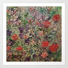 Red Rose Garden Art Print