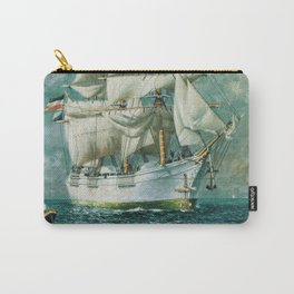Vintage Large White Sailboat Painting (1895) Carry-All Pouch