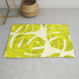 Lime Green Monstera Leaves Light Background #decor #society6 #buyart Rug