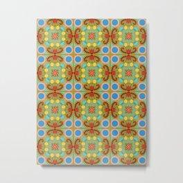 Folk Quilt Pattern Green Metal Print