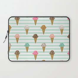 ice cream cones flavors mint stripes food fight apparel and gifts Laptop Sleeve