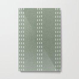 boho vertical stitch - sage Metal Print