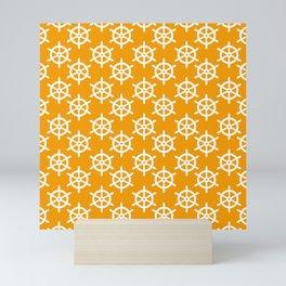 Ship Wheel (White & Orange Pattern) Mini Art Print