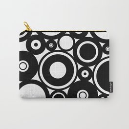 Retro Black White Circles Pop Art Carry-All Pouch