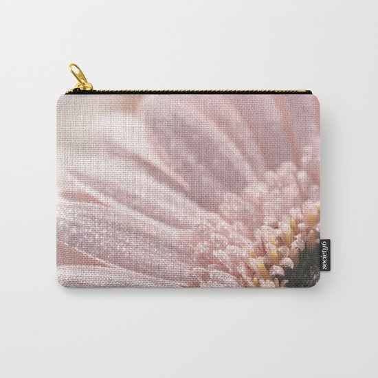 Light Pink floral Daisy Flower with water droplets- flowers Carry-All Pouch