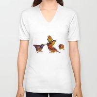 takmaj V-neck T-shirts featuring Sparrows by takmaj