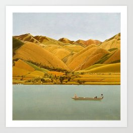 Edge of Abruzzi, Italy; boat with three people on lake by Winifred Knights Art Print