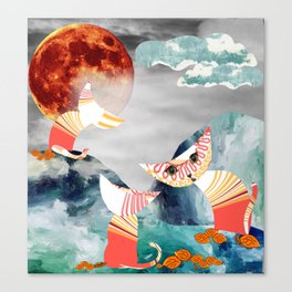 Curiosity cats. Falling leaves. Digital collage. Canvas Print