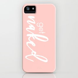 Bathroom Decor // get naked - white on light pink iPhone Case
