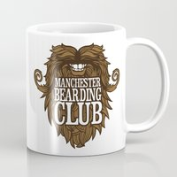 manchester Mugs featuring Manchester Bearding Club Tshirt by Dastardly Dave