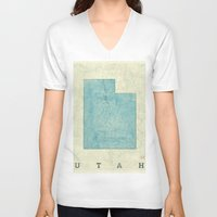 utah V-neck T-shirts featuring Utah State Map Blue Vintage by City Art Posters