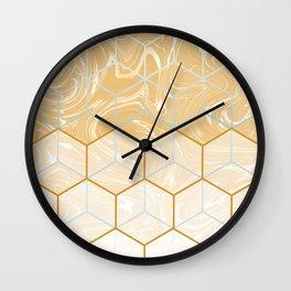 Geometric Effect Caramel Marble Design Wall Clock