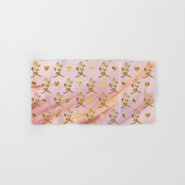 Gold Chinese Love symbol on rose marble Hand & Bath Towel