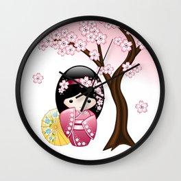 Japanese Spring Kokeshi Doll Wall Clock