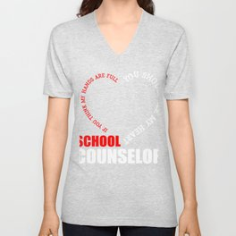 School Counselor Gift You Should See My Heart Unisex V-Neck