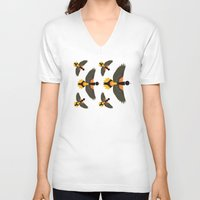 baltimore V-neck T-shirts featuring Baltimore Oriole  by Alysha Dawn