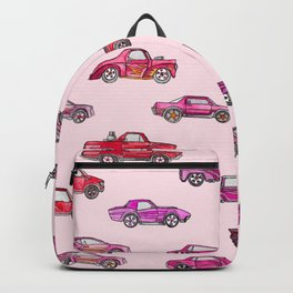 Little Toy Cars in Watercolor on Pink Backpack
