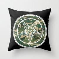 pentagram Throw Pillows featuring Pentagram Camo by Parin Cashmony