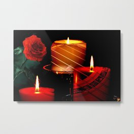 A Red Rose Candlelight And Music How Romantic Metal Print