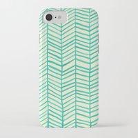 herringbone iPhone & iPod Cases featuring Mint Herringbone by Cat Coquillette
