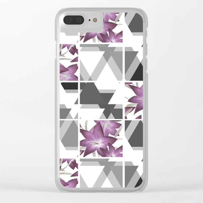 Pink lilies on grey triangles . Clear iPhone Case