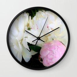 Peonies White & Pink Wall Clock