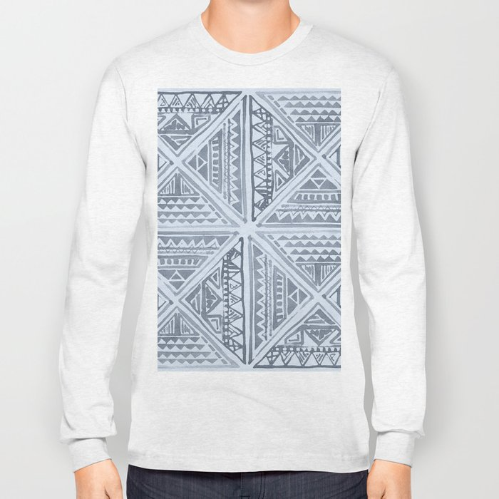 Simply Tribal Tile in Indigo Blue on Sky Blue Long Sleeve T-shirt