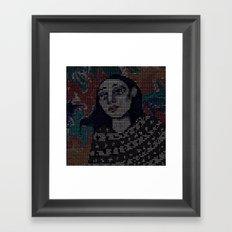 Girl with blue hair Framed Art Print