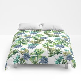 Succulents Watercolour Illustration Comforters