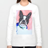 boston terrier Long Sleeve T-shirts featuring Boston Terrier by A.M.