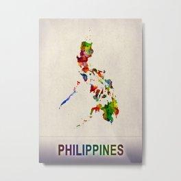Philippines Map in Watercolor Metal Print